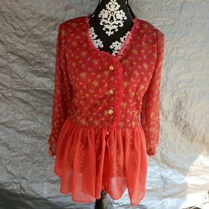 Orange floral blouse M